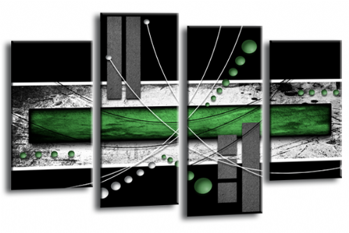 Abstract Canvas Split Wall Art Picture Print Green Black Grey
